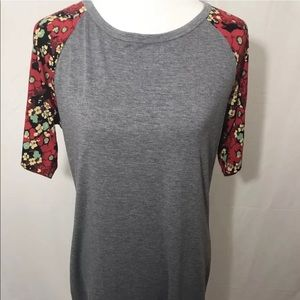 LuLaRoe Julia Dress-Gray with Red Floral Sleeves
